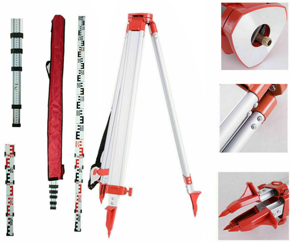 brand new 1 65m aluminum tripod 5m 5 section dumpy laser level staff for rotary laser level Samger 1.65M Laser Level Stand Tripod For Thicken Adjustable Aluminum Laser Level Tripod Stand + 5M Staff Ruler Measure Tools