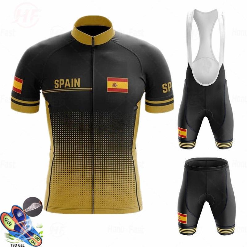 Conjunto de Ropa de Ciclismo del equipo español para hombre, Maillot corto,...