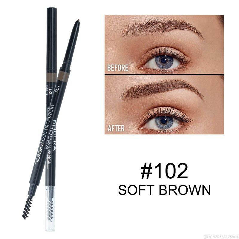 PHOERA 5 Color Natural Makeup Double Head Super Fine Eyebrow Pencil Waterproof Lasting Easy Ware Eye Brow Pen Make Up TSLM1