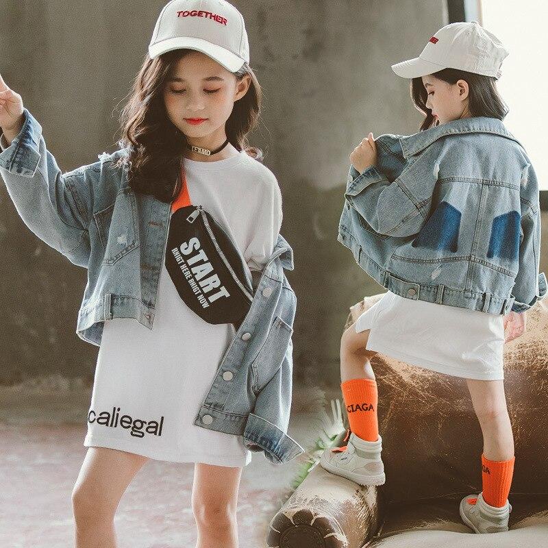 Dziewczyny Denim kurtki 2020 wiosna dziewczyny płaszcze nastolatek szkoła z długim rękawem zgrywanie płaszcz dżinsowy ubranie dziecięce 8 10 lat dzieci ubrania