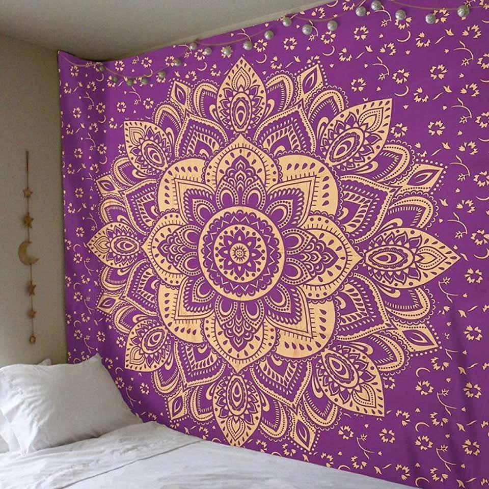 Tapiz indio, rosa y bohemio, decoración psicodélica, tapiz colgante de pared Hippie, manta de Mandala, funda de viaje para playa, 150X200