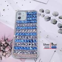 graphic bling glitter crystal rhinestone 3d square diamond case for girls women for motorola moto g8 plus protective cover funda