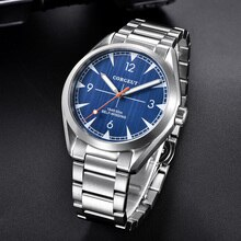 CORGEUT 41mm Automatic Men's Watch Blue Dial Brushed Case Mental Strap Round Wristwatch