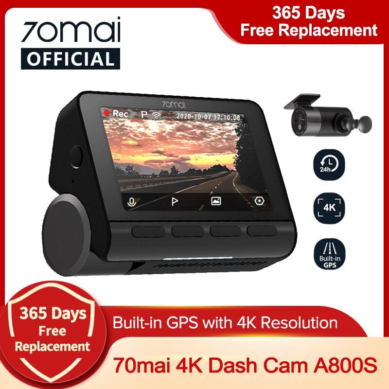 70mai 대쉬 캠 4K A800S 붙박이 GPS ADAS 70mai A800 사진기 차 DVR 정면과 후방 캠 24H 주차 Monitior 140FOV