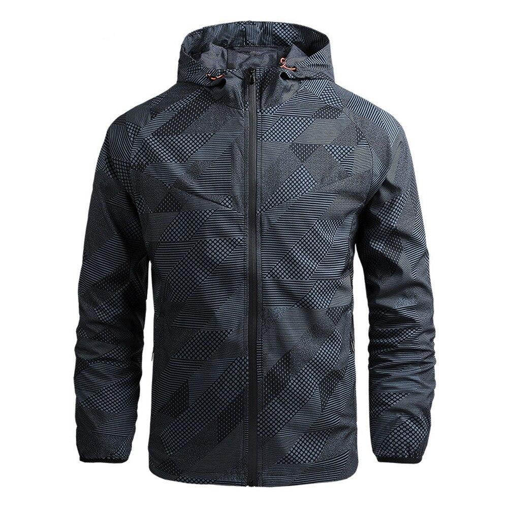 2020 Hoodie Men's Lightweight Jacket Spring and Autumn Windbreaker Zip Jacket Men's Outdoor Slim Cas