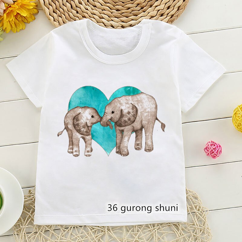 Camiseta con estampado gráfico de elefante para niños y niñas, ropa divertida...