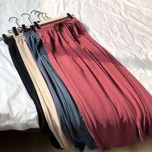 Spodnie damskie letnie luźne spodnie fajne cienkie dzianiny spodnie Vintage kolor spodnie elastyczne miękkie spodnie czarne spodnie szerokie spodnie nogi