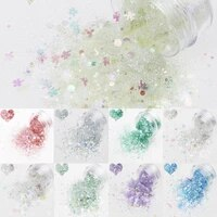 1 box star dust butterfly dream mixed nail glitter 3d laser pigment powder colorful flakes nail sequin nail decorations