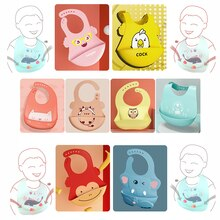 2021New Baby Bib Adjustable Different styles Animal Picture Waterproof Saliva Dripping Bib Soft Edible Silicone As For Kids Gift