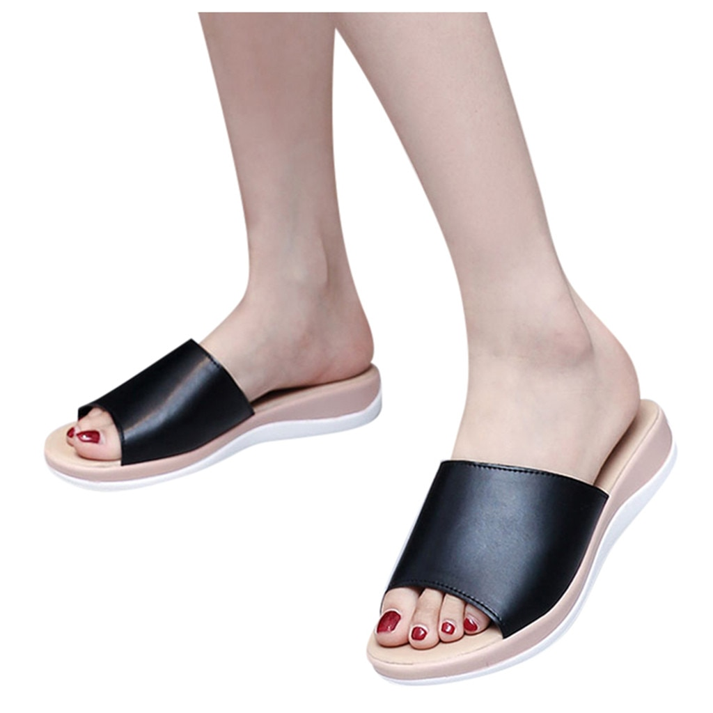 Solid Color Platform Slippers And Sandals Ladies Fashion Casual Wedges Platforms Beach...