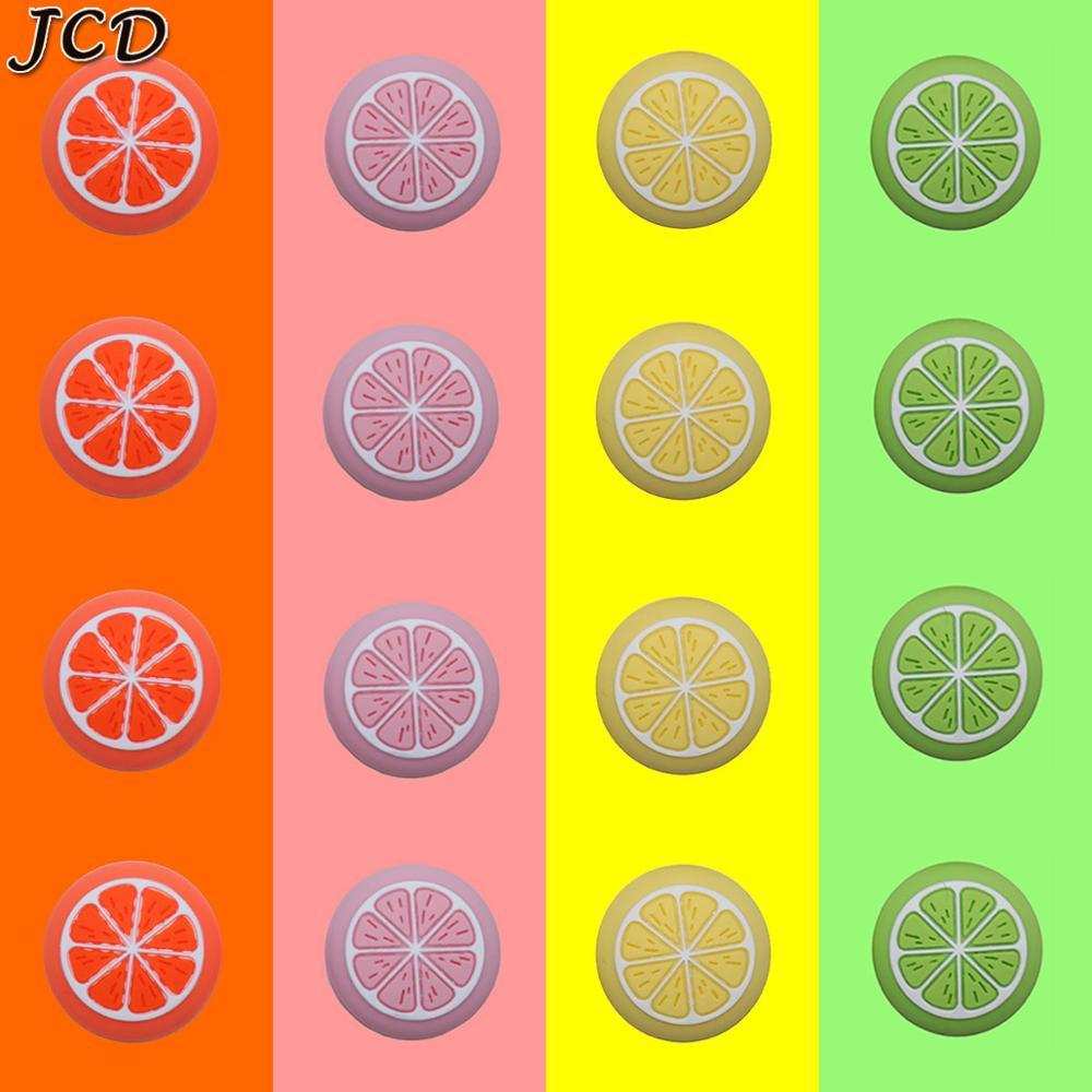 Jcd 4 pçs fruit thumb vara aperto boné joystick capa para nintendo switch ns lite joy-con controlador de silicone caixa de miniaturas