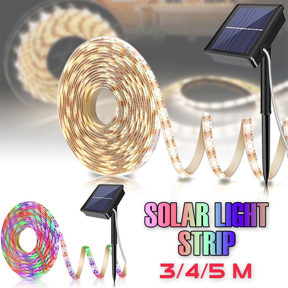Solar Powered 5M 150LED Strip Light outdoor RGB 2835 Flexible Lighting Ribbon Tape Waterproof LED Strip Backlight Garden Decor