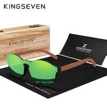 KINGSEVEN Fashion Natural Bubinga Wooden Sunglasses Men Women Round Polarized Sun Glasses UV400 Lens