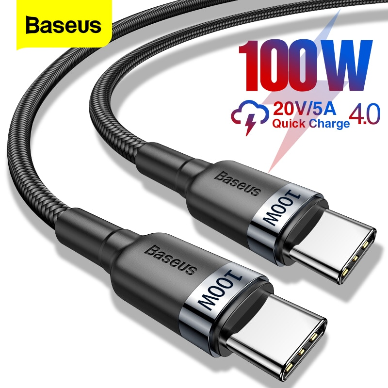 Baseus 100W USB C To USB Type C Cable USBC PD Fast Charger Cord USB-C Type-c Cable For Xiaomi mi 10