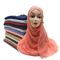 fashion plaid jacquard scarf thin muslim hijab headwrap turban solid viscose cotton islam female modesty long shawl headscarf
