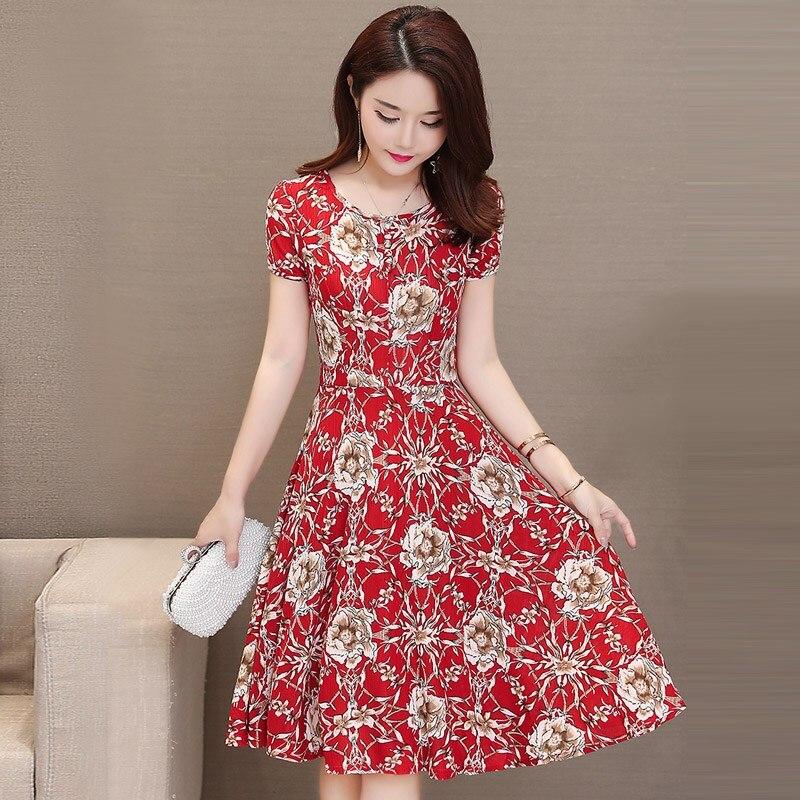 Summer Fashion Floral Dress Women Thin Waist Casual Office Dress Short Sleeve Large Hem Red Long Dresses Summer Dresses