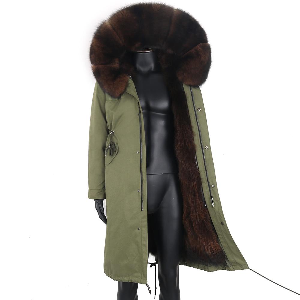 معطف شتوي طويل من X-Long للرجال موديل 2021 معطف عسكري من الفرو معطف دافئ من الفرو الطبيعي مع ياقة من فرو الثعلب الكوري سترة سميكة للرجال