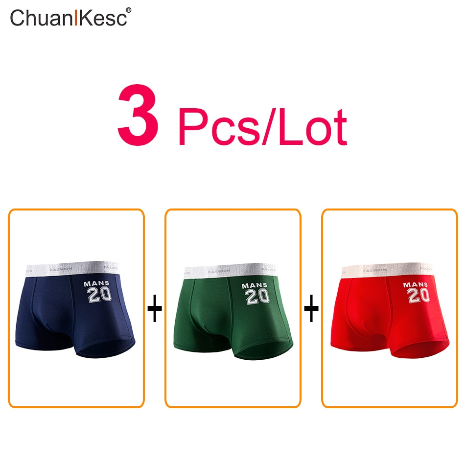 3 Pcs Pure Cotton Men's Boxers Personality Star Digital Underwear Fashion New Sexy Comfortable Basketball Running Sports Shorts