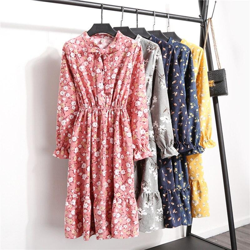 10 colores primavera otoño PANA estampado Floral Vintage manga larga Vestido elegante Casual fiesta Midi Velveteen Vestido Runway 2020
