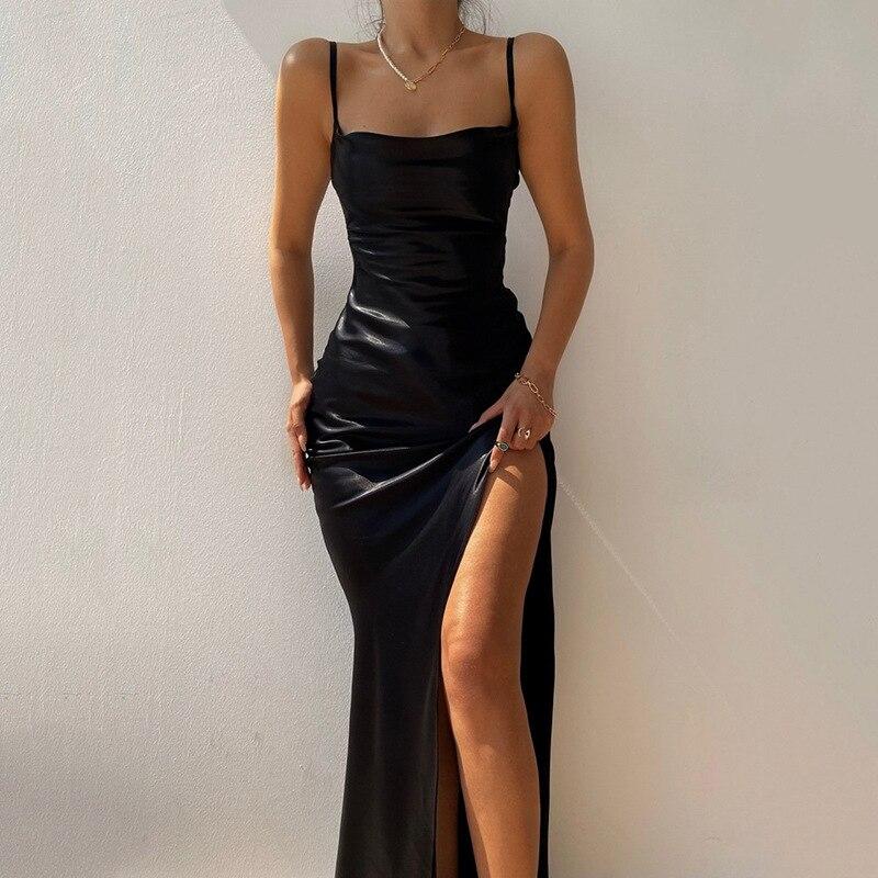 مثير السباغيتي حزام ماكسي فستان أنيق الصلبة حفلة فساتين بلا أكمام الصيف Bodycon عالية انقسام عارية الذراعين فستان المرأة 2021