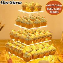 Ourwarm Acryl Cake Stand Met Licht Verjaardagsfeestje Bruiloft Decoratie Display Stand Transparante Tray Cupcake Houder