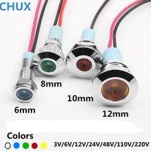 Lampe à fil en métal   type étanche 3v 5V 6V 12V 24V 48V 110V 220v avec lampe de Signal de commutateur 6mm 10mm 12mm