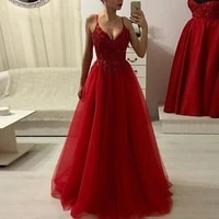 elegant red prom dresses v neck spaghetti straps aplliques lace a line tulle floor length formal dress evening gowns