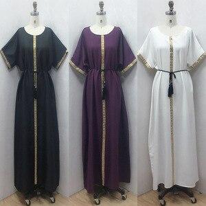 Loose Straight Spring Autumn Short Sleeve African Dresses For Women Diamonds Vintage Femme Robe 2021 Muslim Fashion Abaya