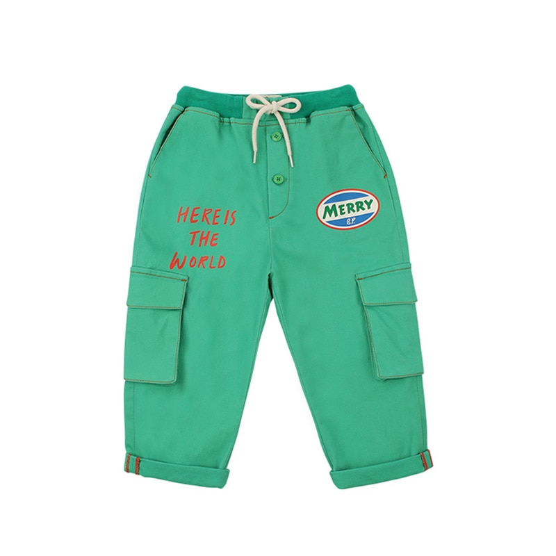 Bebe/брендовые новые весенне-летние детские штаны для мальчиков и девочек; Милые зеленые брюки с карманами и надписью; Модная одежда для мален...