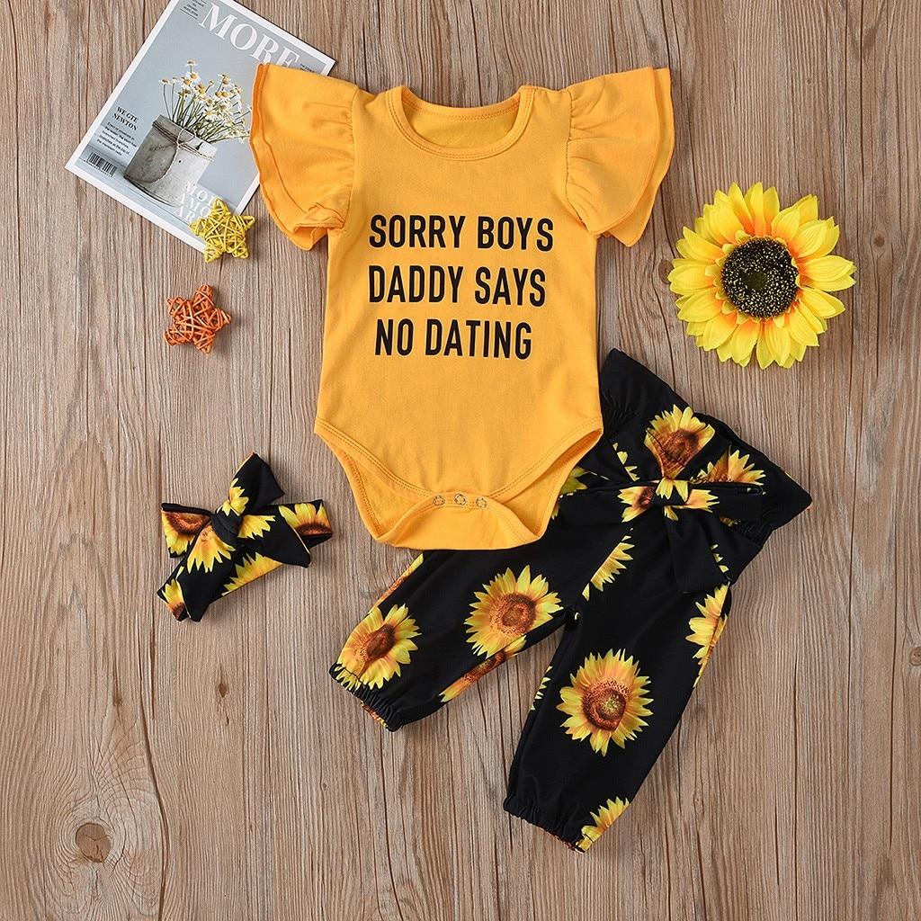 Conjunto de ropa de bebé para niña, mameluco + Pantalones con girasoles + diadema, conjunto de ropa para niña, ropa para Recién Nacido Z4