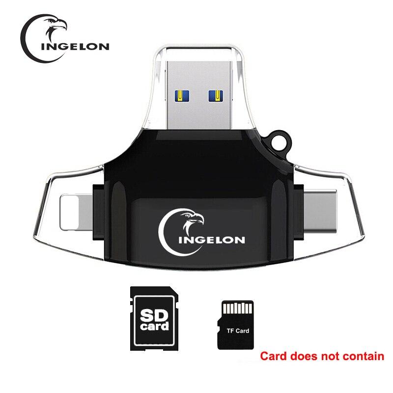Ingelon lector de tarjeta SD Adaptador micro SD lector tarjetas usb c SDHC SDXC usb TF c OTG Memory Stick duo RS MMC Adaptador para iphone