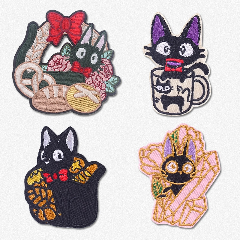Cute Black Cat Embroidered Patches for Clothing Stickers Animal Iron On Patches For Clothes Cats Sew On Fabric Badges Stripe DIY