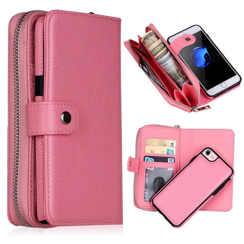 YXAYN Detachable Zipper Flip Leather Wallet Case For iPhone12 Mini 11 Pro Max XS MAX XR 7 8 Plus Multifunction Handbag Case