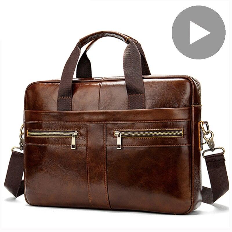 Genuine Leather Business Messenger Women Men Bag Tote Briefcase For Documents A4 Shoulder Handbag Male Female Laptop Brief Case