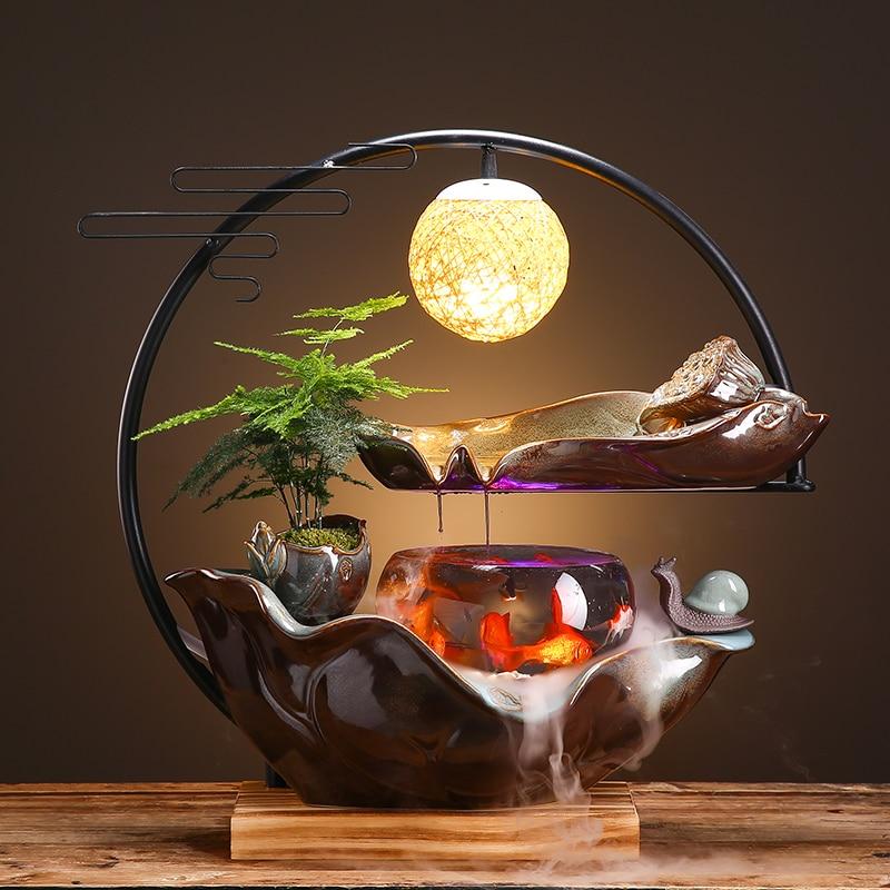 نافورة الماء الإبداعية فنغشوي عجلة محظوظ مكتب غرفة المعيشة لينة الديكور المنزل الديكور خزان الأسماك هدية الديكور
