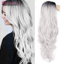 Doris beauty sintético ondulado largo Ombre peluca gris para mujer Peluca de cosplay marrón rojo negro Rubio fibra resistente al calor