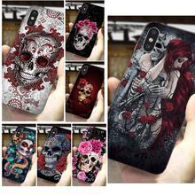 TPU souple personnalisé téléphone Catrina Rose fille crâne pour Samsung Galaxy J1 J3 J4 J5 J6 J7 A10 A20 A20E A3 A40 A5 A50 A7 2016 2017 2018
