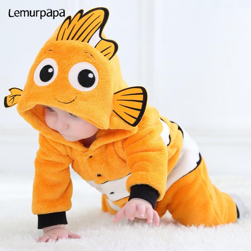 Bonito mono Kawaii para bebé, disfraz de Nemo, Mono para recién nacido, niño, niña, ropa abrigada de invierno, disfraz de Anime Fish Kigurumis Onesie