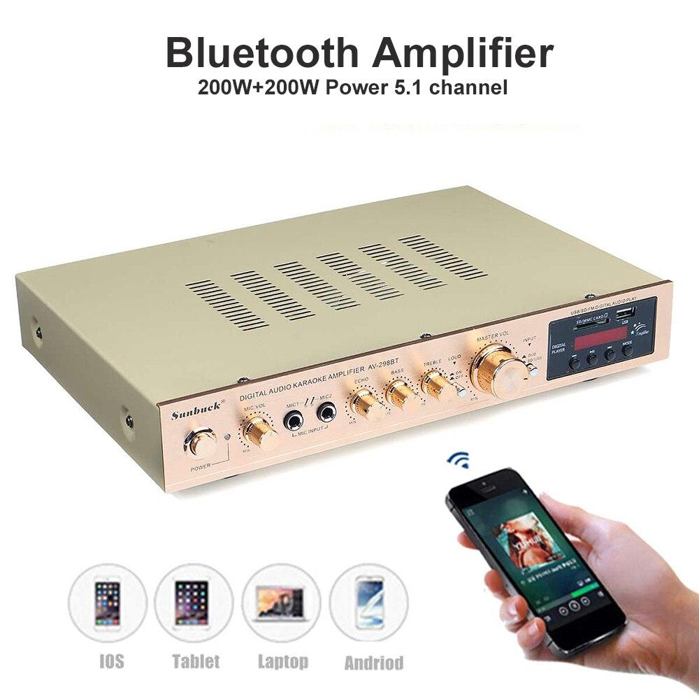 Amplificador Bluetooth de alta potencia, 200W + 200W, 5,1 canales, micrófono Dual, reverberación, Bluetooth integrado, radio FM, USB