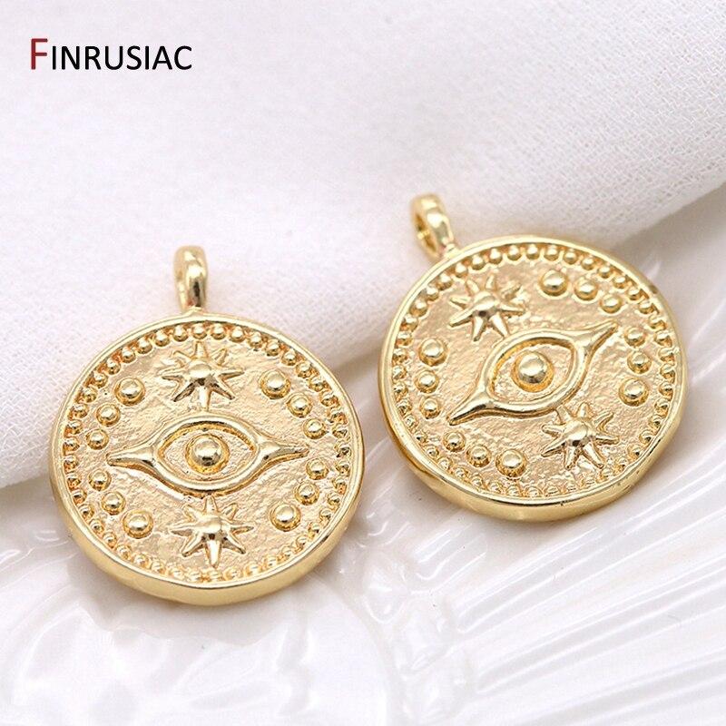 2020 novo grego olho encantos de alta qualidade cobre chapeado ouro redondo moeda comemorativa pingente charme para diy fazer jóias