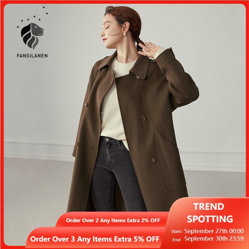 FANSILANEN معطف طويل 100% من الصوف للنساء أنيق معطف الشتاء الأبيض المتضخم الإناث جيب Casaul الشارع الشهير سترة معطف