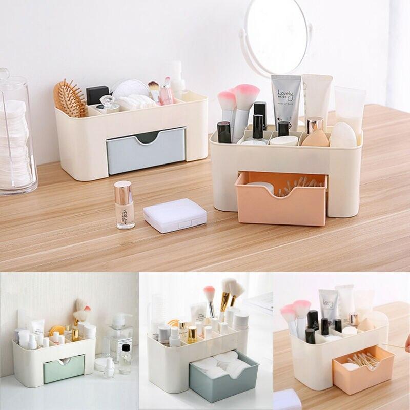 Caja de organizador de maquillaje de plástico multifunción collar de joyería pendiente de esmalte de uñas caja de maquillaje organizador de escritorio para el hogar para cosméticos