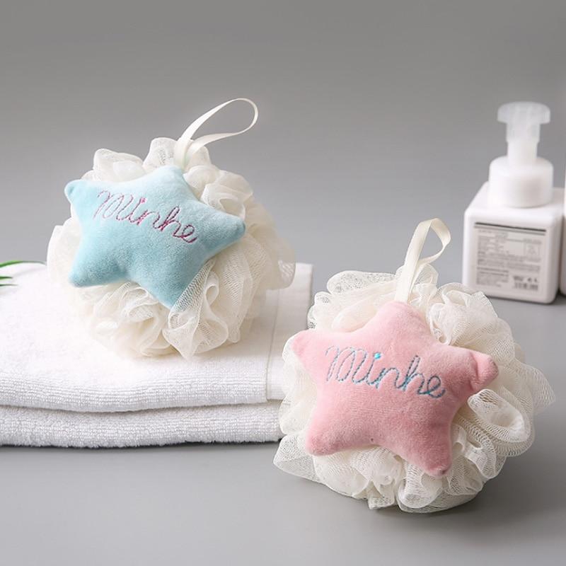 Cartoon Style Soft Comfortable Shower Cleaner Bathroom Products Children Bathing Flowers Star Shape Household Bath Shower Ball