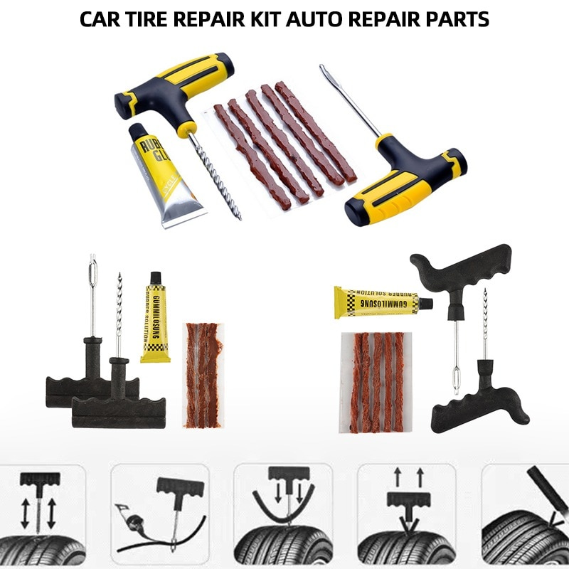 Car Tire Repair Kit Tool Tire Repair Kit Studding Tool Set Auto Bike Tubeless Tyre Puncture Plug Garage Car Accessories 1set