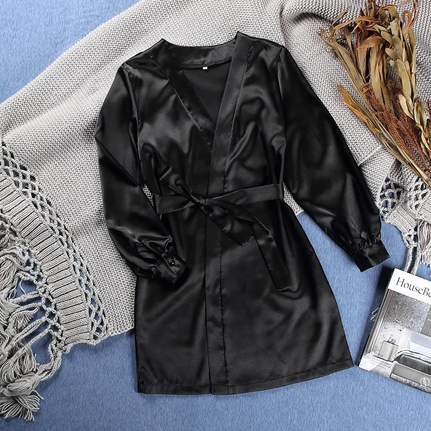 HiLoc Lantern Sleeve Burgundy Robes Women Satin Silk Robe Pure Color Long Sleeve Winter Sleepwear Sexy Robe Black White Autumn