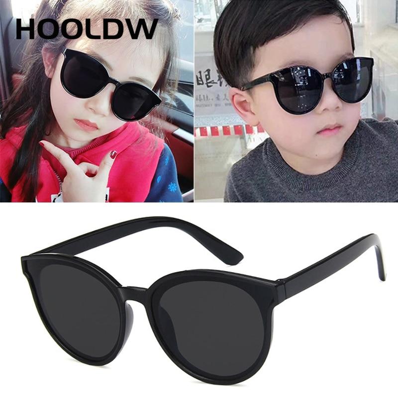 HOOLDW New Round Kids Sunglasses Brand Designer Children Sun Glasses Boys Girls UV400 Mirror Protect
