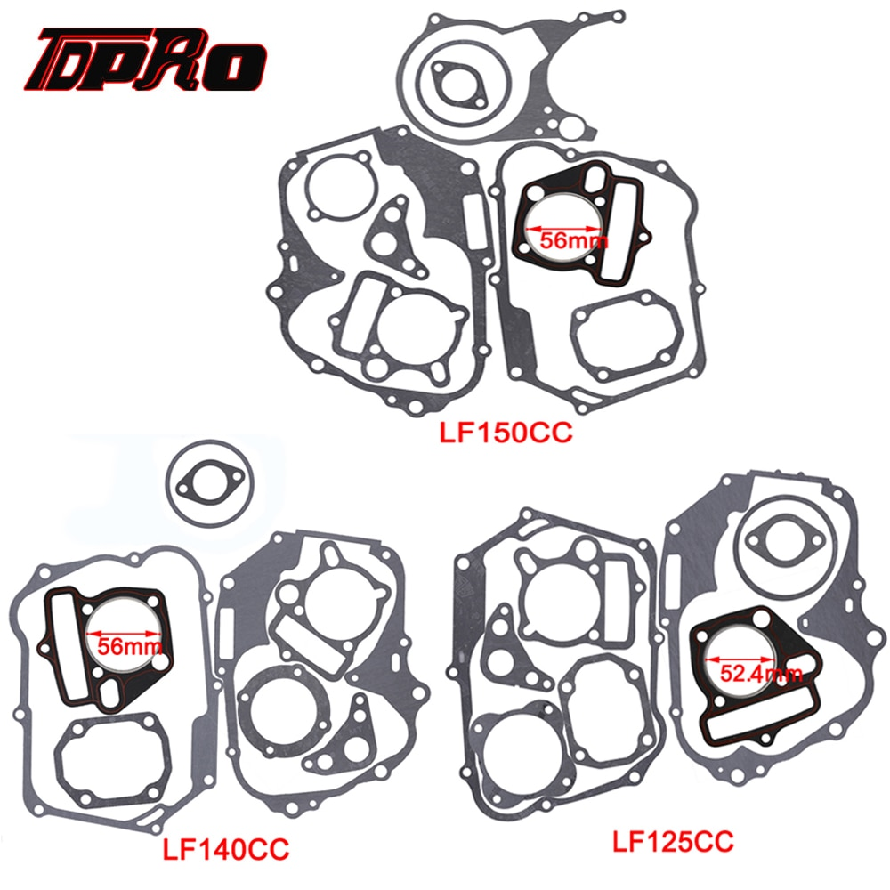 Комплект прокладок для двигателей TDPRO, 125 куб. См, 140 куб. См, 150 куб. См, Комплект прокладок для двигателей, головное основание для головки блока цилиндров для грязи, питбайка, мотоцикла, скутера, квадроцикла, багги