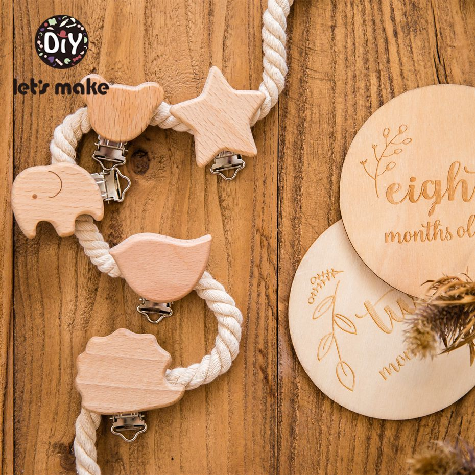 Let's Make Pacifier Clip 200pc Round Wooden Engrave Customize Baby Wooden Dummy Clip Neutral Gift For Pacifier Chain Kid Teether