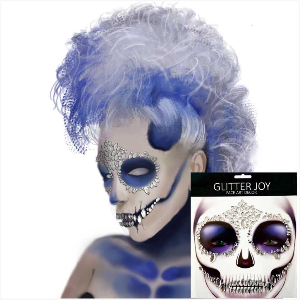 HFG18 1Pc cráneo Festival cara de hueso joya con dientes pegatina de maquillaje para noche de carnaval fiesta maquillaje, arte corporal