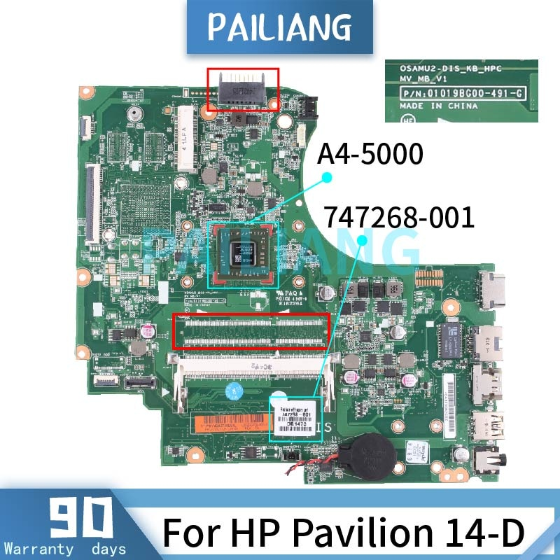 PAILIANG اللوحة الأم للكمبيوتر المحمول HP بافيليون 14-D A4-5000 اللوحة الرئيسية 747268-001 01019BG00 DDR3 tesed